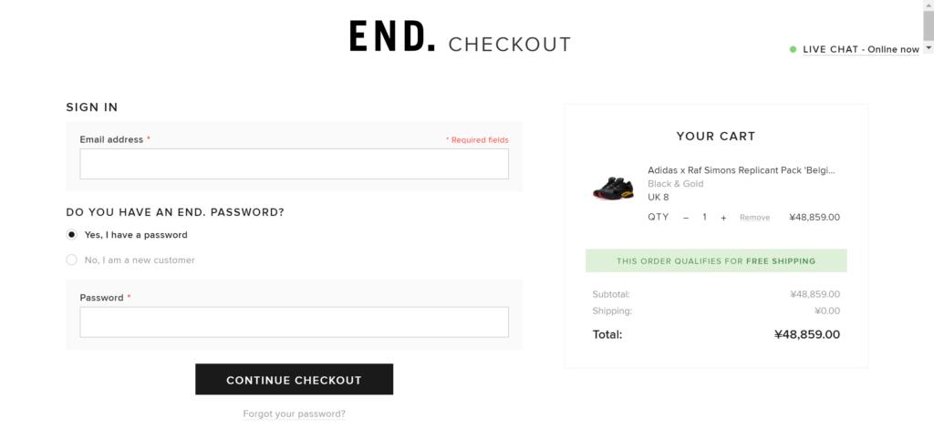 END.の買い方(商品の決済)